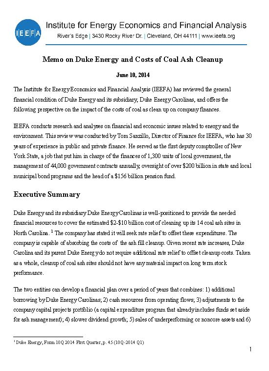 Memo- Duke Energy and Costs of Coal Ash Cleanup