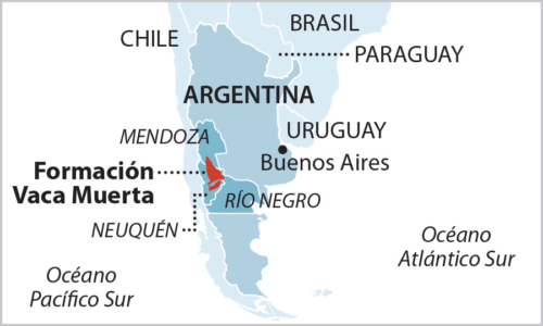 Vaca Muerta map in Spanish