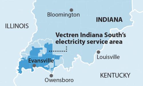 IEEFA Vectren Southern Indiana Service Area map