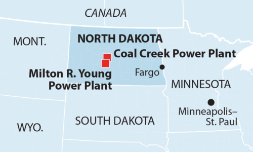 Map of Coal Creek and Milton R. Young power plants