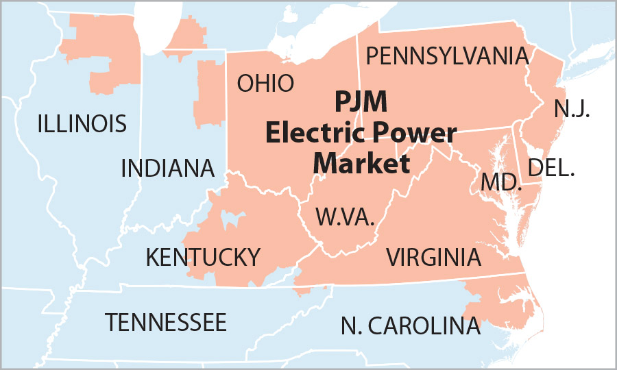 PJM Electric Power Market map