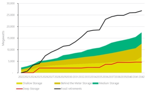 Megawatts of Fossil Fuel Plant Retired and Different Duration Storage Installed in AEMO's Step Change Scenario